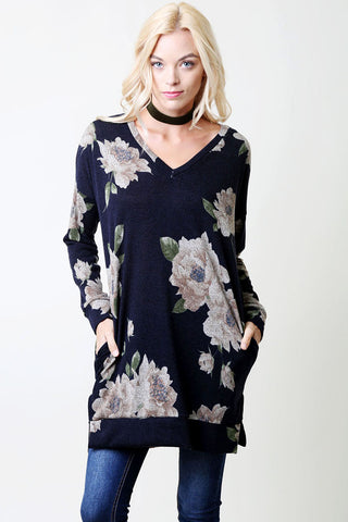 Comfy V-Neck Tunic - Navy