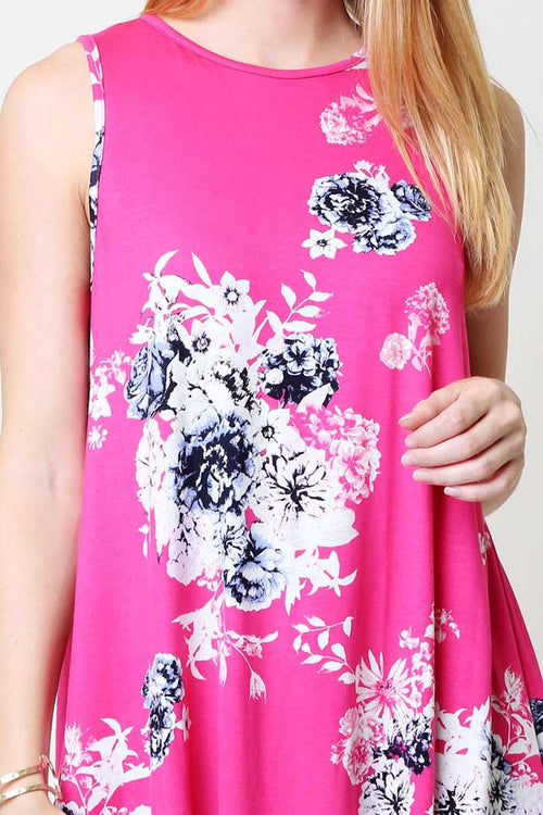 Floral Casual Tank Top : Hot pink