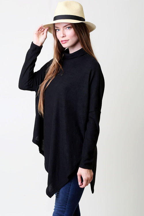 Soft Solid Poncho Top : Black