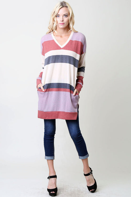 Multi Color Tunic Top - Charcoal/Lilac