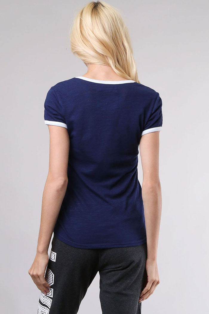 Contrast Trims Casual Top - Graphic-SPT - GOZON