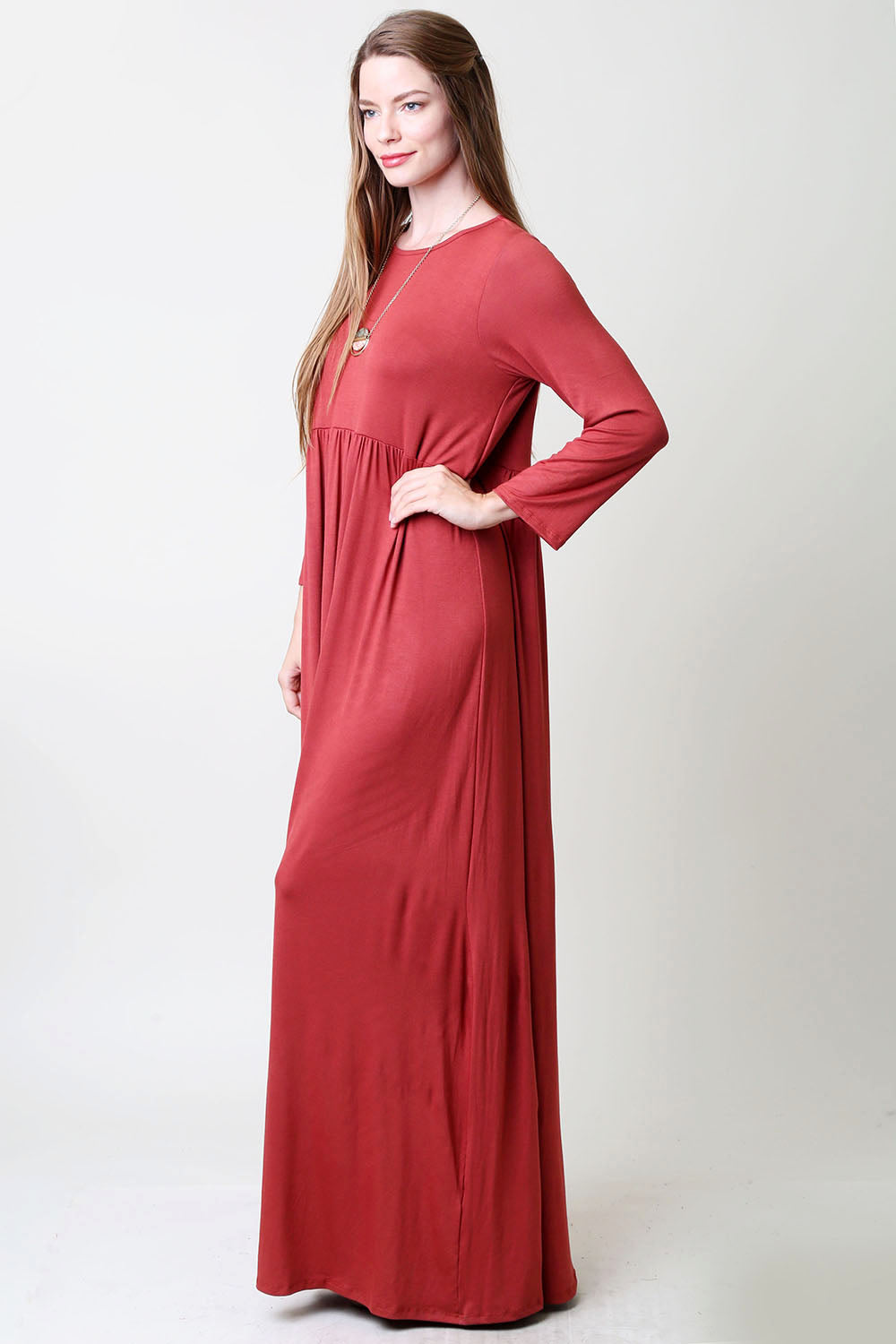 Flowy High Waist Maxi Dress : Marsala