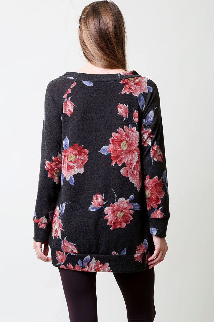 Boat Neck Floral Tunic Top : Black