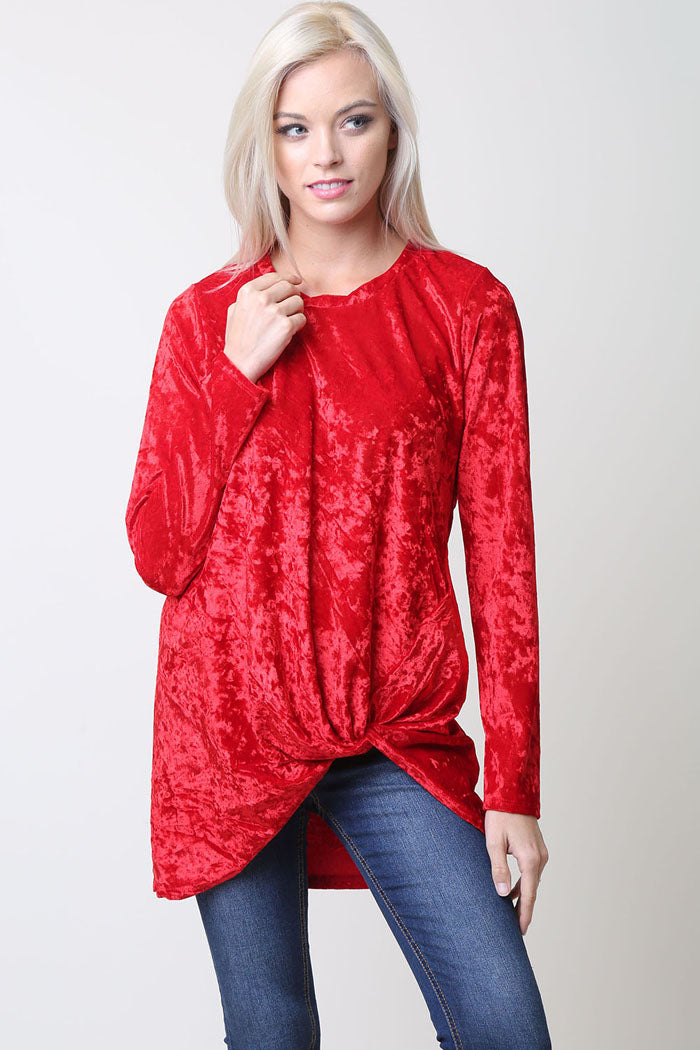 Nicole Velvet Knot Top : Red