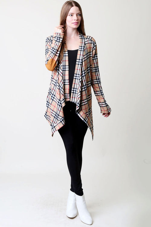 Rachael Plaid Cardigan : Taupe