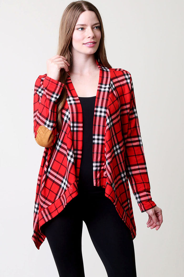 Rachael Plaid Cardigan : Red
