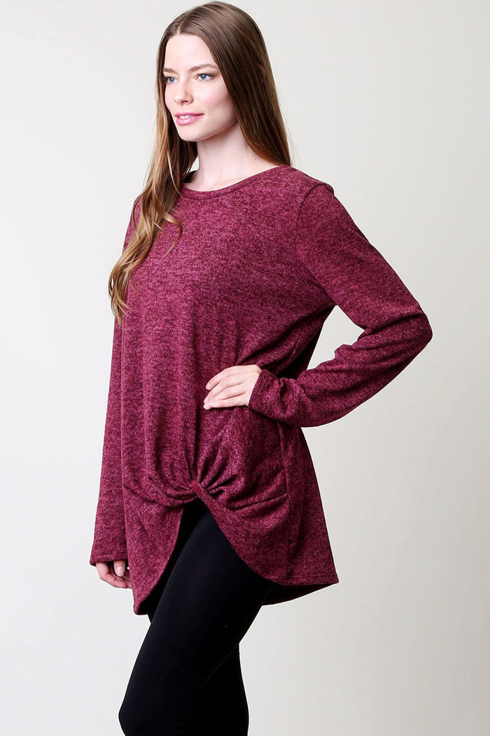 Knotted Solid Top : Burgundy