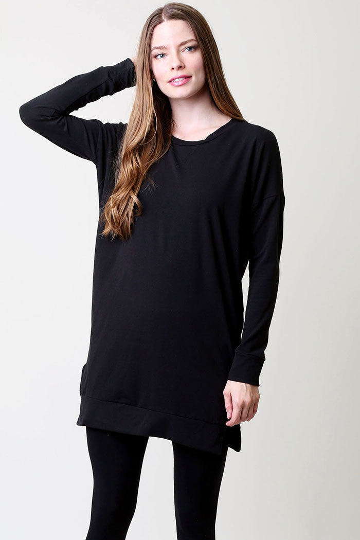 Essential Solid Tunic Top : Black