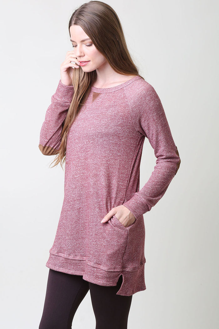 Suede Contrast Tunic Top : Burgundy