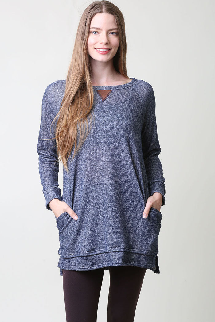 Suede Contrast Tunic Top : Navy