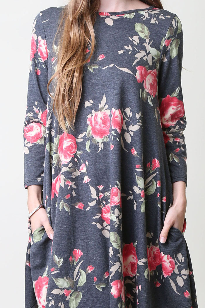 French Terry Floral Mini Dress : Black