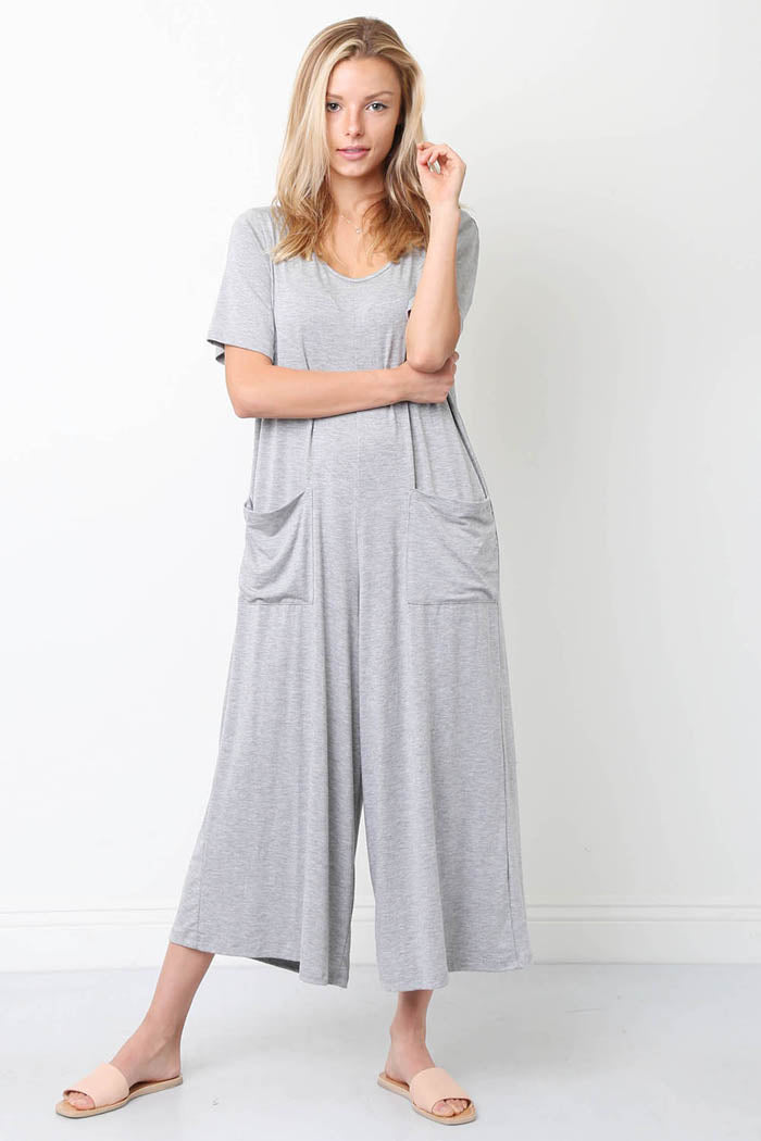 Front Pockets Solid Jumpsuits : Heather Grey