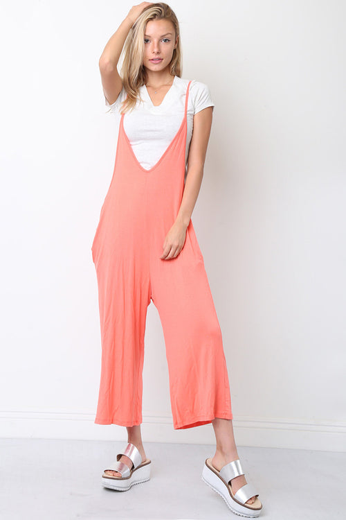Plunging V-Neck Jumpsuits : Coral