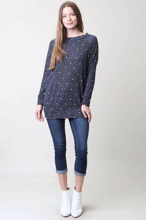 Taylor Polka Dot Tunic : Navy