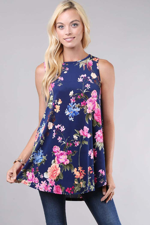 Sleeveless Floral Top - shirts - GOZON