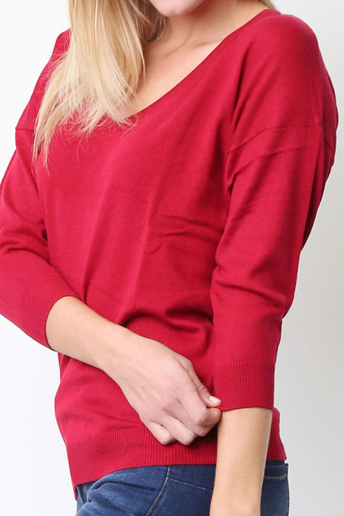 Harper Long Sleeve V Neck Sweater.