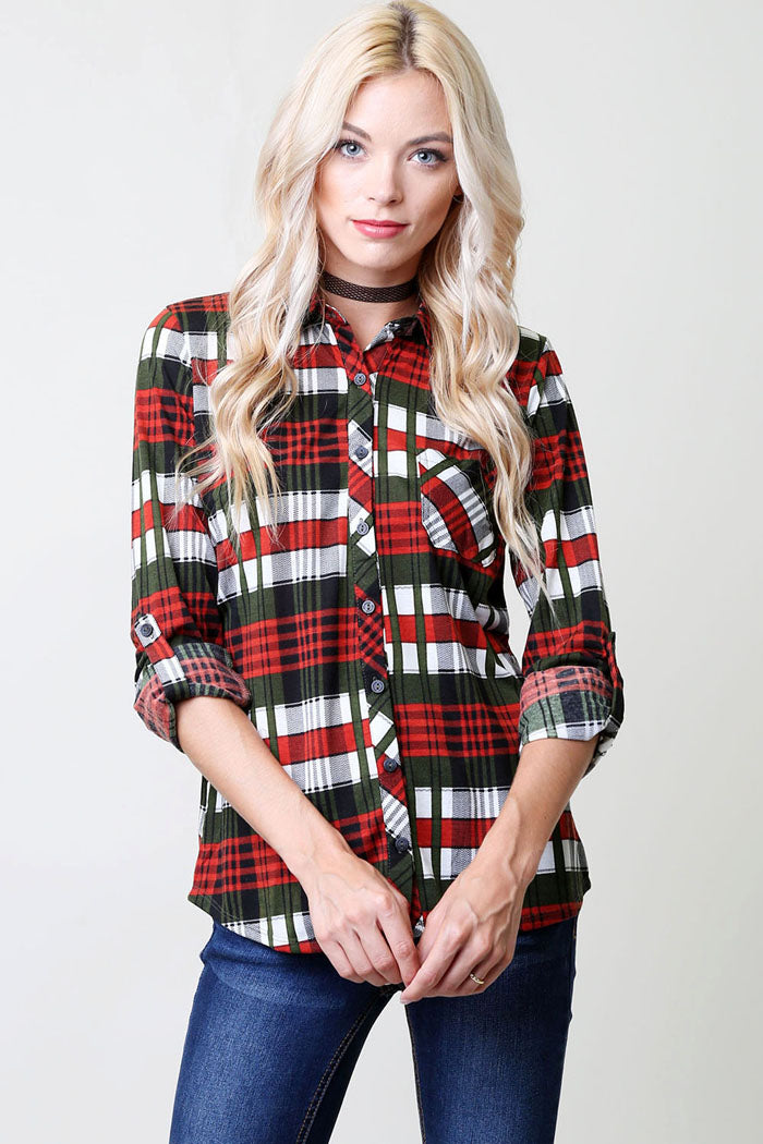 Everyday Flannel Shirt - Olive/Rust