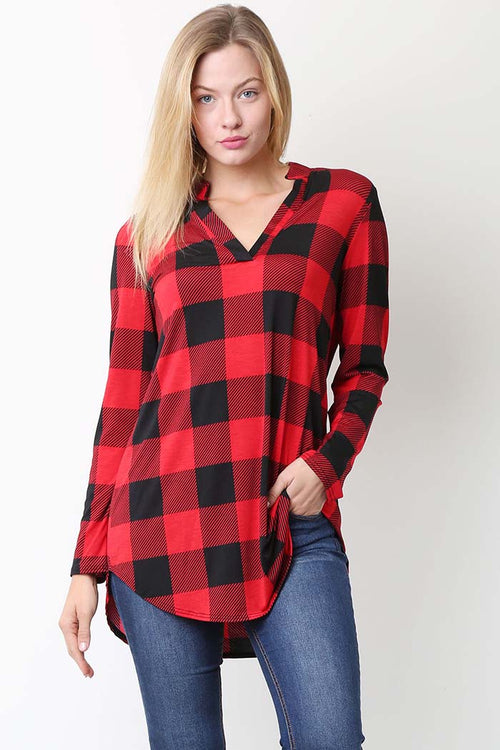 Elizabeth Plaid Long Sleeve Top