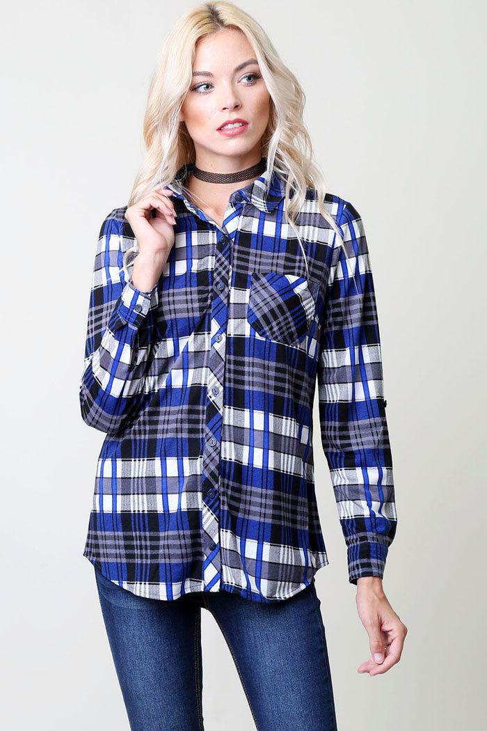 Everyday Flannel Shirt - Royal/Grey