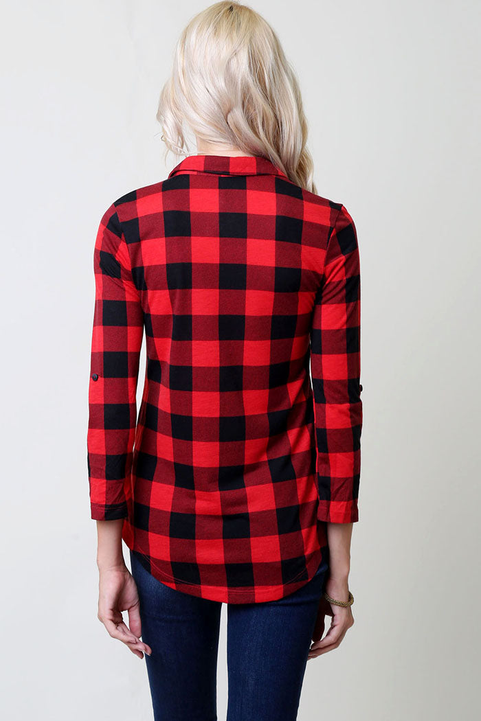Basic Checkered Top - Red/Black