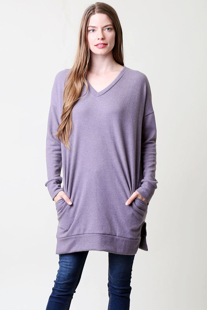 Basic V-Neck Tunic Top : Ivory