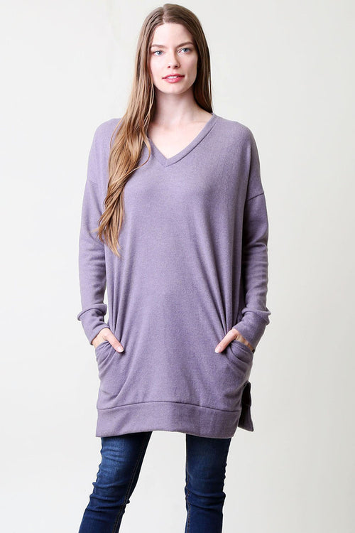 Basic V-Neck Tunic Top : Purple bean