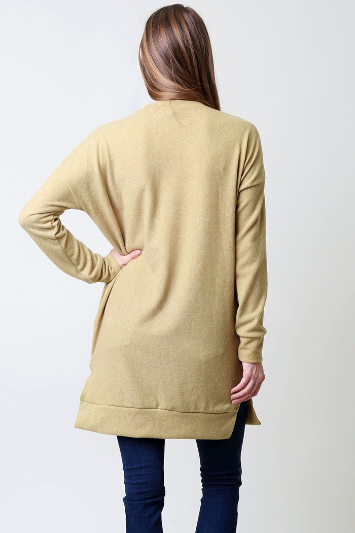 Basic V-Neck Tunic Top : Taupe