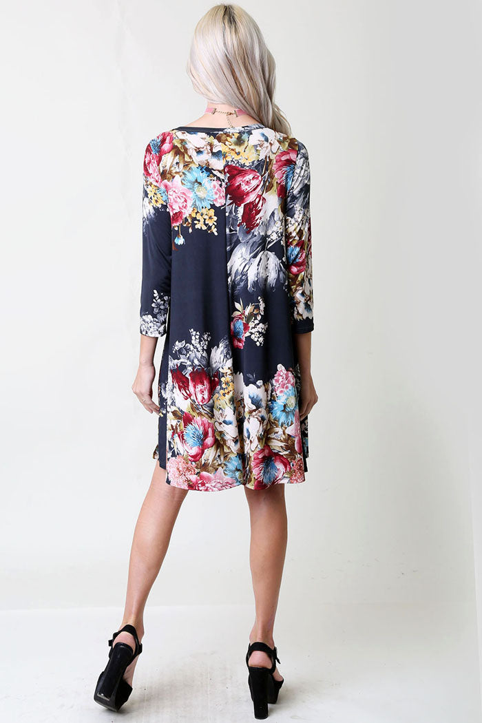 Multi Floral Swing Mini Dress - Navy