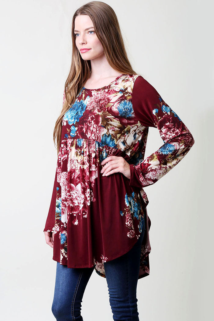 Floral Babydoll Top Plus - Burgundy