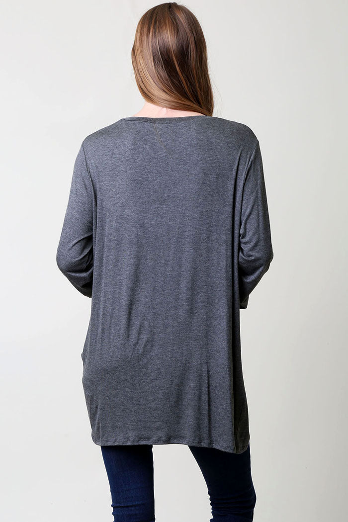 Casual Side Knot Top : Charcoal
