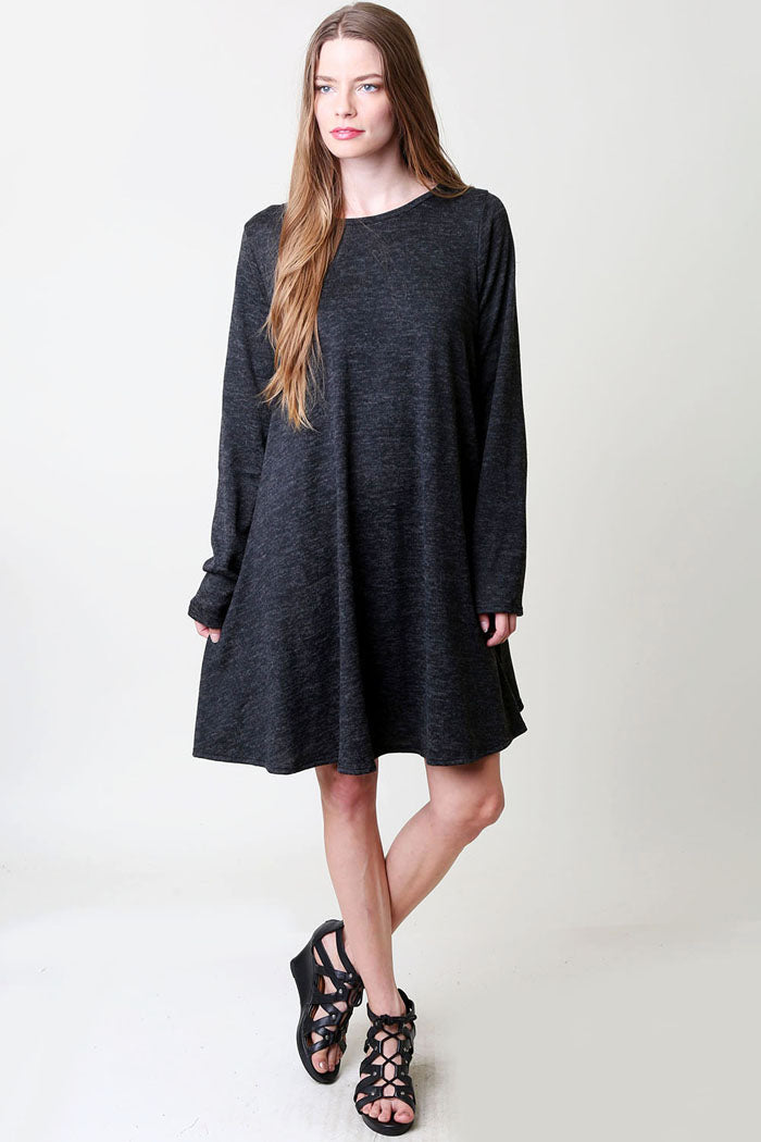 Solid Hacci Brushed Dress : Black