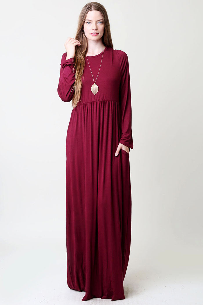 High Waist Solid Maxi Dress : Marsala