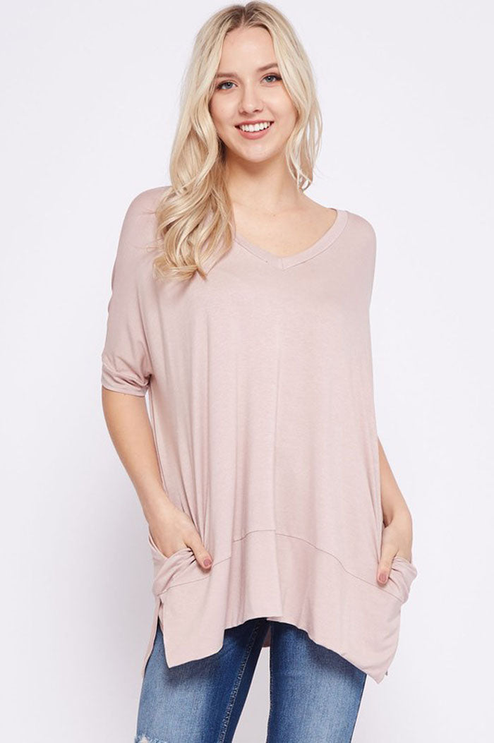 Heather V-Neck Tunic : Taupe