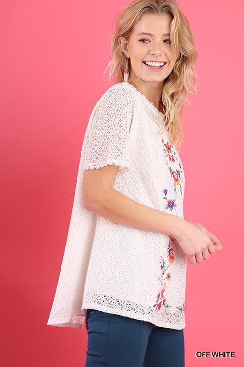 Emma Crochet Lace Top : Off White