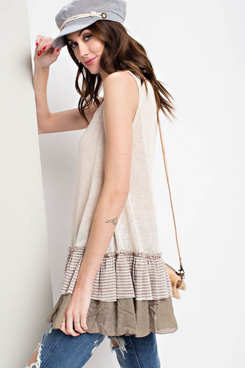 Aurora Sheer Knit Tunic : Oatmeal