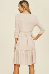 Linda Solid Layered Dress : Bone