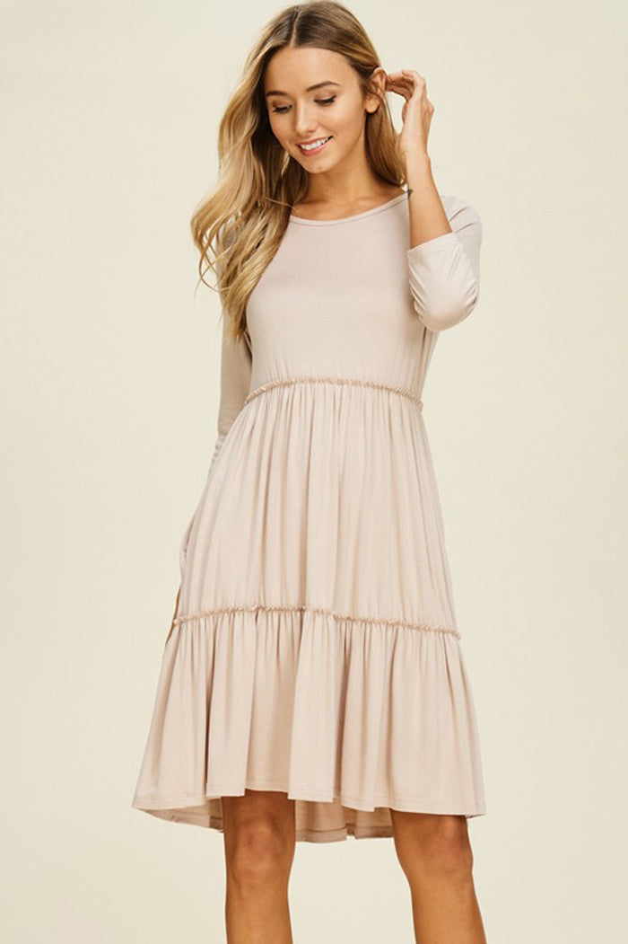 Linda Solid Layered Dress : Sweet Pink