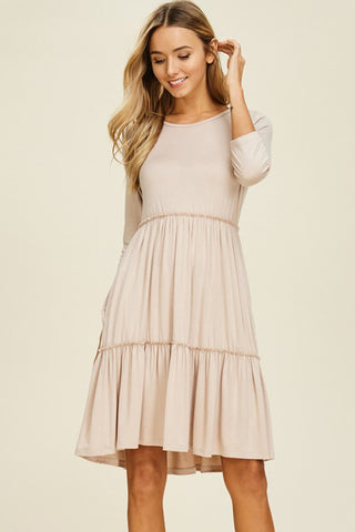 Ruffle Cold Shoulder Midi Dress : Ivory
