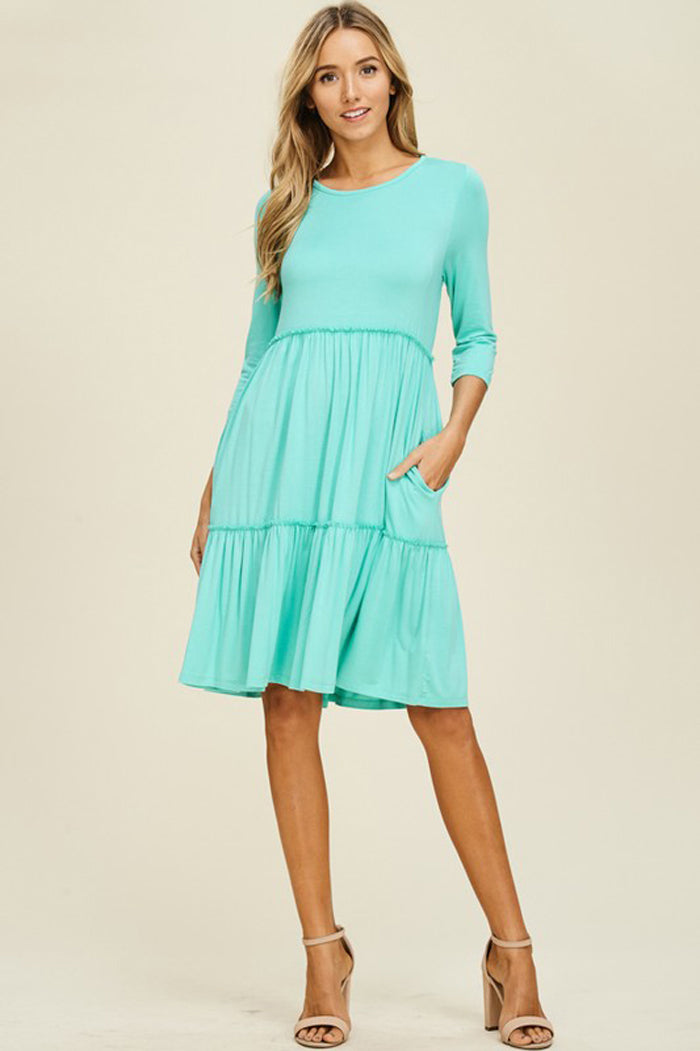 Linda Solid Layered Dress : Seafoam