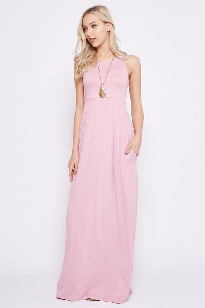 Solid Maxi Dress : Dusty Pink