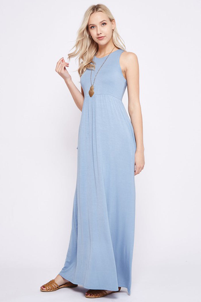 Solid Maxi Dress : Dusty Blue