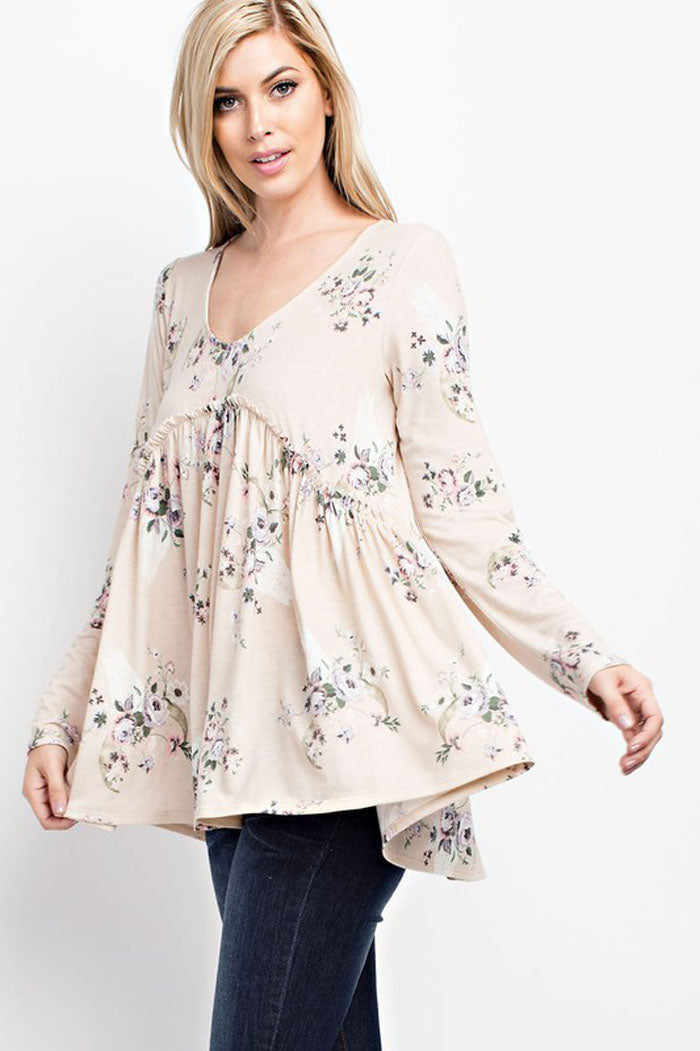 Evelyn Floral Babydoll Top : Ivory