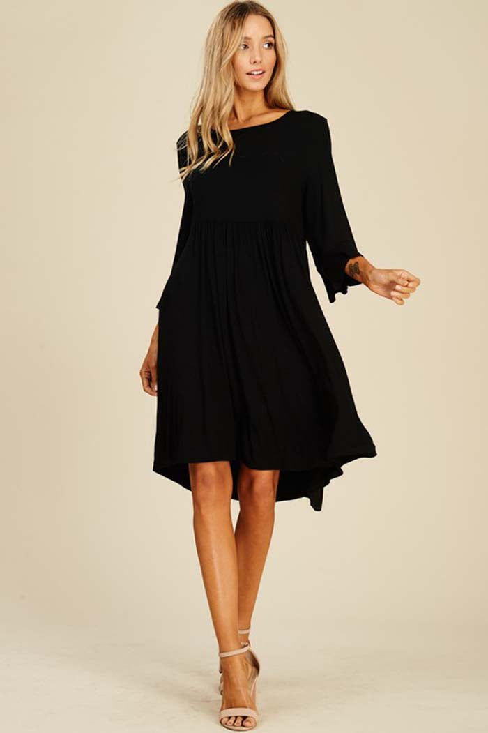 Maggie Baby Doll Dress : Black