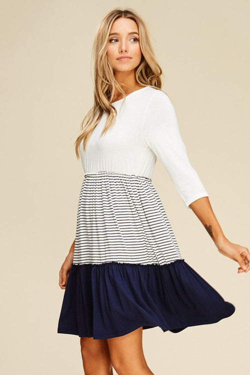 Autumn Layered Swing Dress : Ivory/Navy