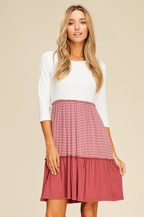 Autumn Layered Swing Dress : Ivory/Mauve