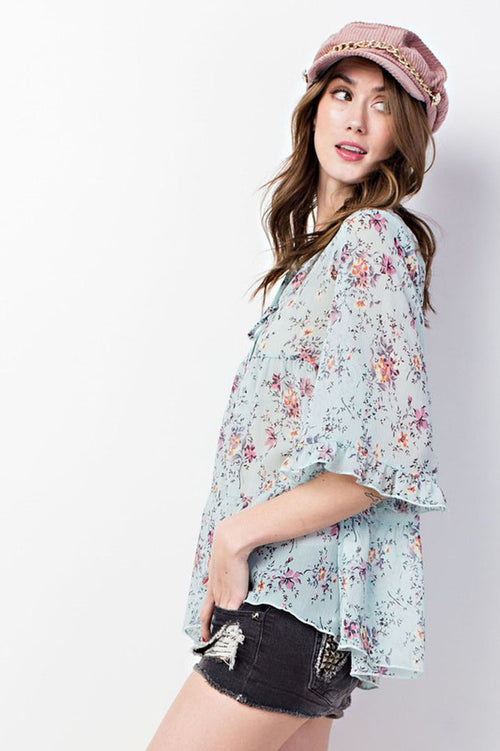 Kinsley Floral Sheer Tunic : Sky