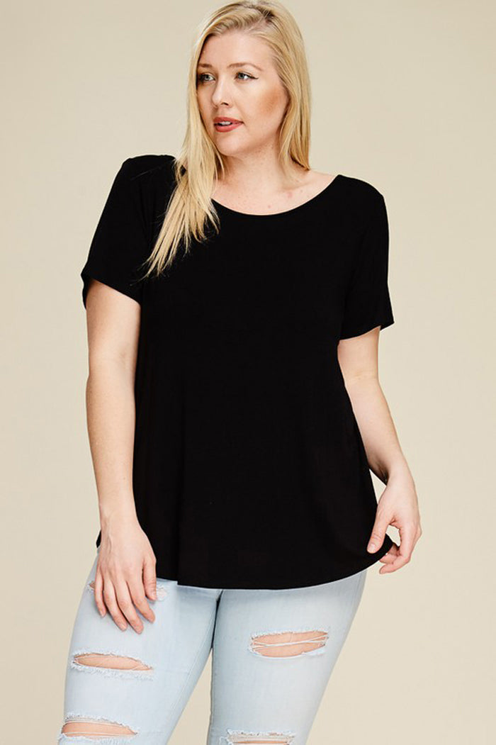 Angie Basic Solid Top Plus : Black