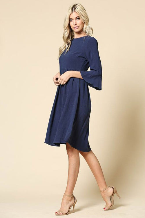 Ella Solid Babydoll Dress : Navy
