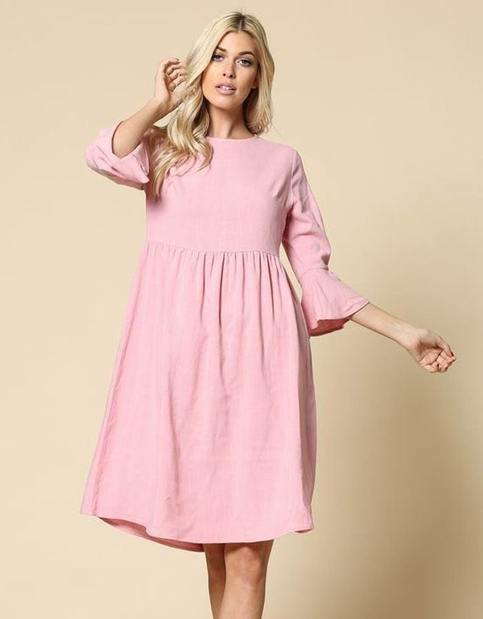 Ella Solid Babydoll Dress : Pink