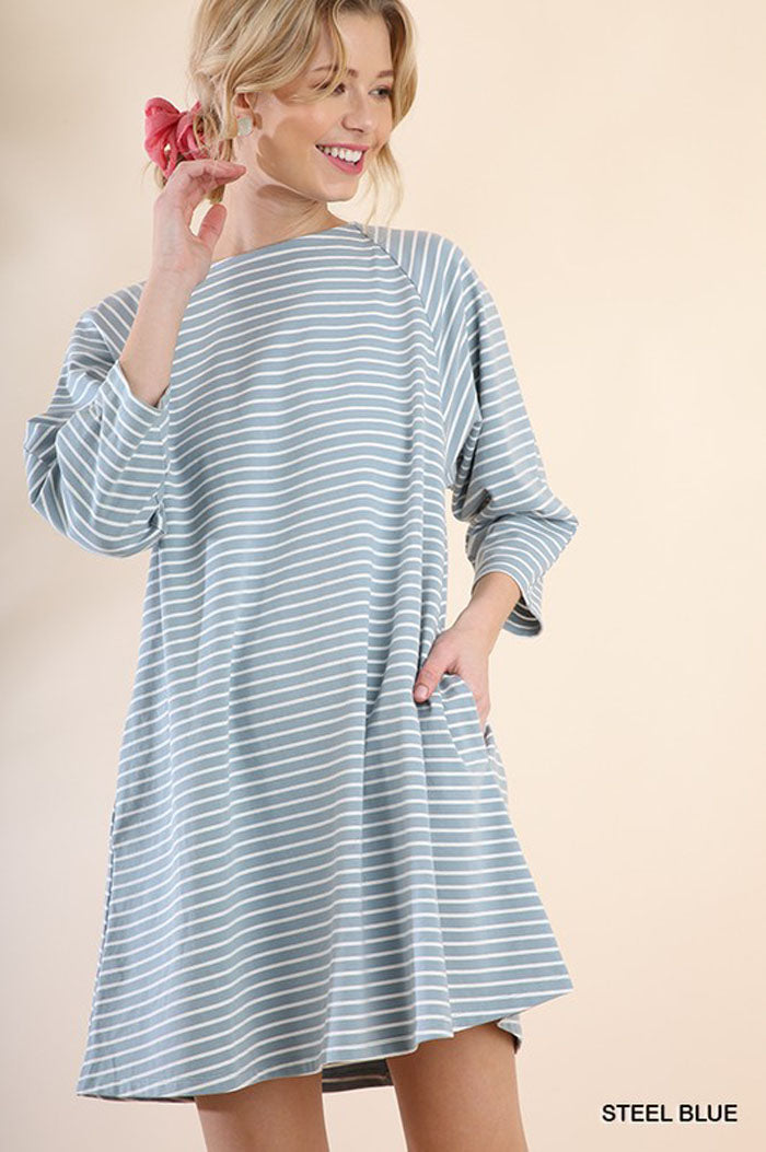 Ellie Striped Keyhole Dress : Steel Blue